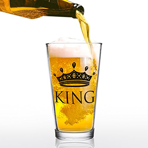 16 oz King Beer Pint Glass - Man Gift for Him - Present for Dad, Brother, Uncle, Friend