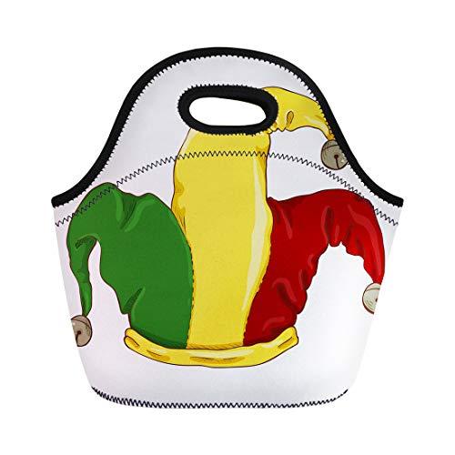 Semtomn Lunch Bags Green Jocker Single Cartoon Color Jokers Hat on White Neoprene Lunch Bag Lunchbox Tote Bag Portable Picnic Bag Cooler -