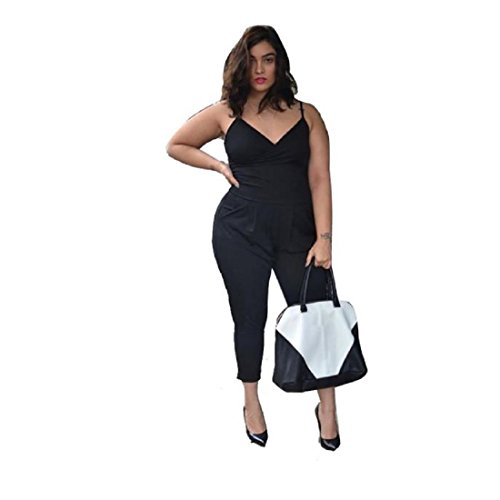 ANGLIN Women Plus Size Solid Sleeveless V-Neck Gallus Rompers Jumpsuits (4XL)