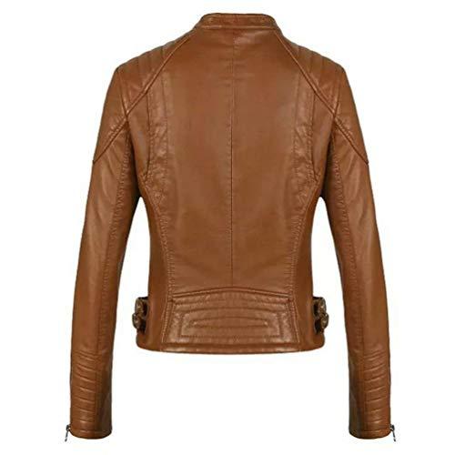 Elegante Cappotto Women Moto Vintage Lunghe Monocromo Libero Braun In Jacket Giacca Tempo Maniche Moda Giovane Giubbotto Donna Invernali Autunno Biker Similpelle Zip AwFU7qfHw