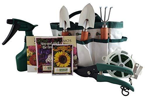 Kids Garden Tool Gift Set Includes 4 Flower Starter Seed Packs, 8 Piece Gardening Tool Set with Multipurpose Nylon Gardening Bag for Girls and Boys