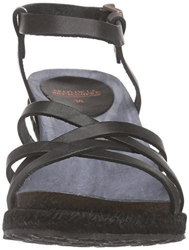 Fred de la Bretoniere Fred sandalet Cross Straps Rope Matching Upper Wegde Elda - Sandalias Mujer Negro - negro
