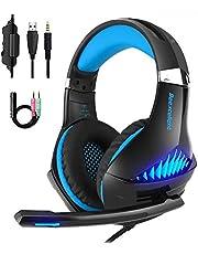 Gaming Kopfhörer LANSRAYOL Gaming Headset mit Mikrofon LED-Beleuchtung für PC, Xbox One, Nintendo Switch, PlayStation 4, Handy 3.5mm Headset Über-Ohr-Bass Noise Cancelling Stereo-Kopfhörer Blau