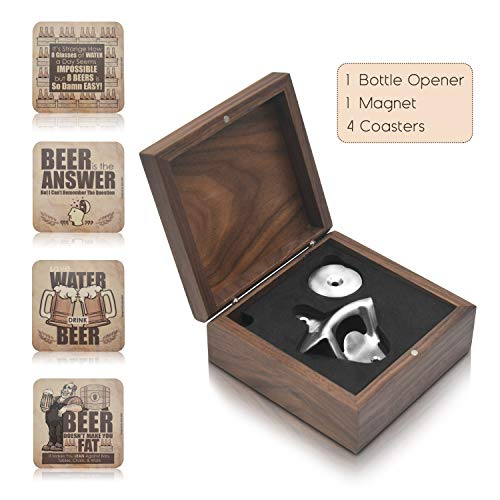 (LIQIX Beer lovers Gift Man Cave Décor(6-Pc.) Box Set Wall Mount Bottle Opener W Magnetic Cap Catcher, 4 Funny Drink Coasters, Walnut Storage Box | Novelty Bar Drinking | Cool Housewarming Presents)