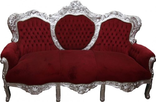 Barock Sofa Garnitur King Bordeaux/Silber - Möbel Antik Stil