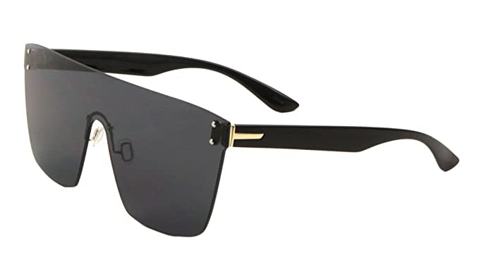 9f07c66f9ba Flat Top Oversized Rimless One Piece Shield Sunglasses (Black   Gold Frame
