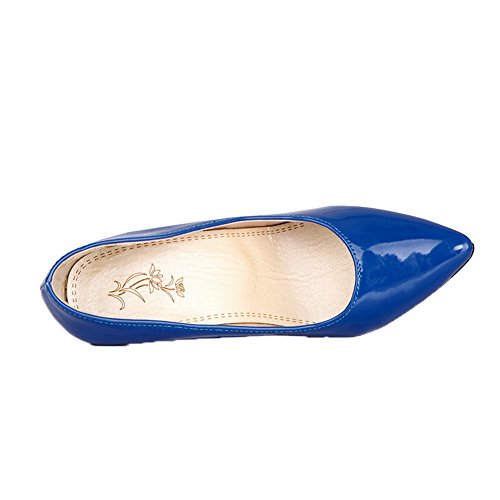On Leather Blue Heels AllhqFashion Patent Closed Pull Womens High Toe Pumps Shoes qwPpEH8