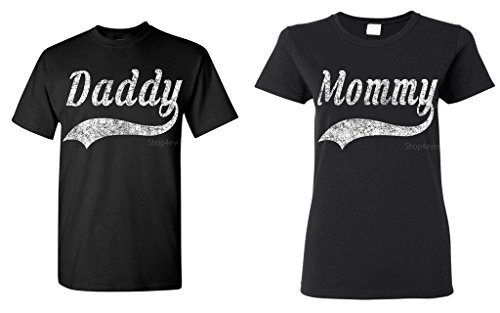 Shop4Ever Couples Matching Daddy – Mommy Baseball T-shirt — Men Medium Black// Women Medium Black