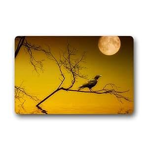 Entry Way Indoor/Outdoor Black Raven on Branch Round Moon Night Doormat