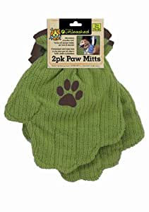 Dogs Unleashed Ritz 2-Pack Microfiber Paw Mitts, Clover/Brown