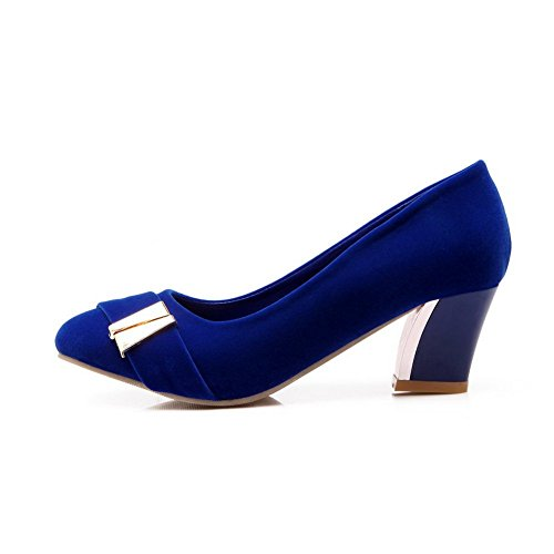 BalaMasa Womens Electroplate Heel Frosted Pumps-Shoes Darkblue 5l9u7WZFov