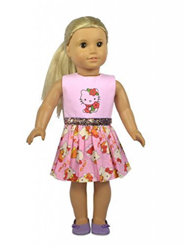 Glamerup: Katherine - PINK Kitty Cat Inspired Doll Dress - 18 inch Doll Dress with Sparkle Band My Twinn Doll Shoes