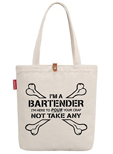 So'each Women's I'm A Bartender Graphic Top Handle Canvas Tote Shoulder Bag