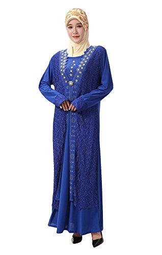 Islamico Con Musulmano Ricamo Lunghe Elegante Donne Vestito Gladthink Pizzo Maxi Blu Maniche Ef8qpxwSF