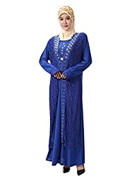 GladThink Women's Muslim Islamic Elegant Embroidery Robe Maxi Lace Dress