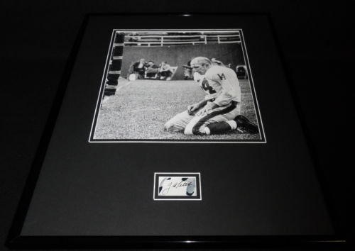YA Tittle Bloody Signed Framed 16x20 Poster Photo Display Giants LSU