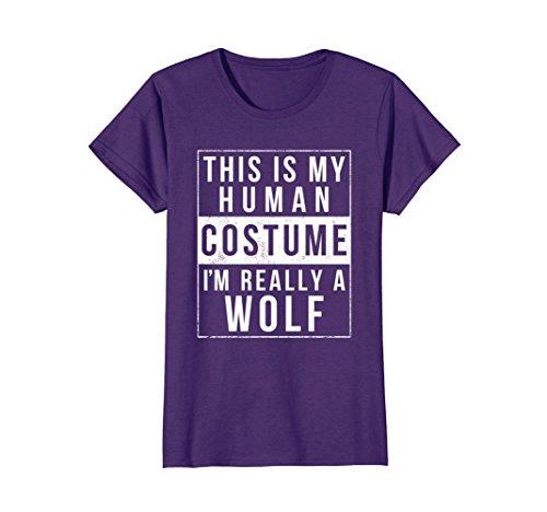 Womens Wolf Halloween Costume Shirt Funny Easy for Kids Men Women Medium (Womens Diy Halloween Costume Ideas)