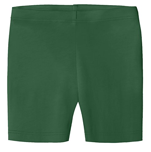 City Threads Big Girls Underwear Bike Shorts in All Cotton Perfect for SPD and Sensitive Skin Sports Dance School Uniform, Forest Green ()