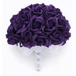 Purple Silk Rose Hand Tie (36 Roses) – Silk Bridal Wedding Bouquet
