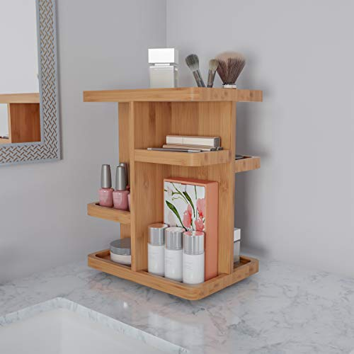 Home Lavish Makeup Organizer - Rotating Eco-Friendly Compact Modern Bamboo Skincare Cosmetic and Vanity Carousel for Bedroom, Bathroom, or Dorm ()
