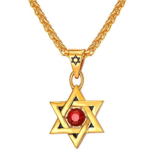 U7 David Star Pendant Jewish Jewelry Ruby Rhinestone 18K Gold Plated Chain Men Women Amulet Magen Star of David Necklace
