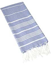 "Hand Face Turkish Towel Pestemal 23x36"" Peshtemal Fouta Kitchen Baby Care by Cacala Grey Blue - PES-PESKIR-GREYBLUE"