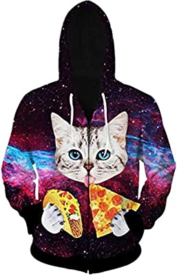Men Women 3D Digital All Over Print Zip Up Hoodie Casual Pullover Hooded Sweashirt Jacket With Pockets