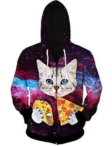 Uideazone Men Women 3D Printed Galaxy Pizza Cat Hoodie Long Sleeve Zipper Hoodie Sweatshirt Plus Size