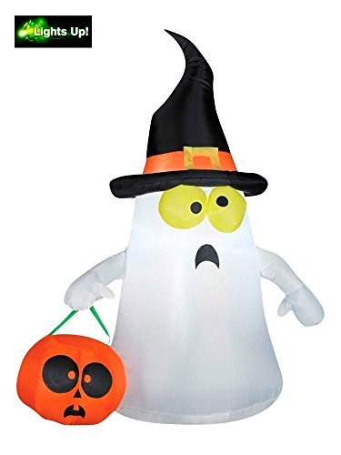 Gemmy Outdoor Ghost with Witch Hat White Standard [並行輸入品] B07DX8NP71