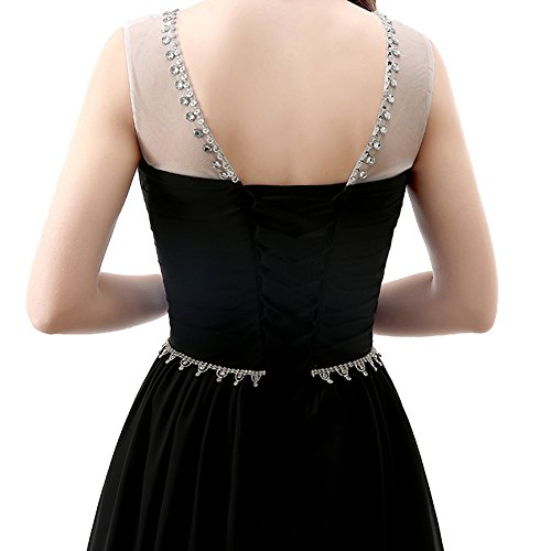 engerla Schwarz Kristall A Träger Rückenfrei Gerüscht Frauen Chiffon Ball Pailletten Sheer Line Kleid r17gnqrwEF