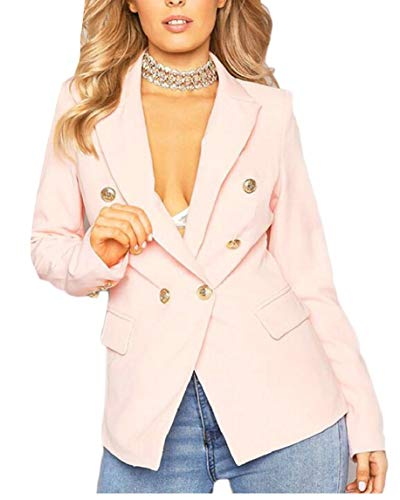 HTOOHTOOH Womens Double Breasted Military Style Casual Blazer Ladies Coat Jacket Pink M