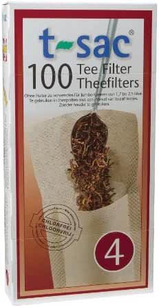 T-Sac Tea Filter Bags, Disposable Tea Infuser, Number 4-Size, 6 to 12-Cup Capacity, Set of 100