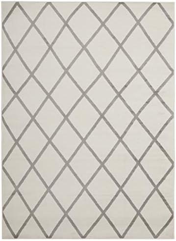 Diagona Modern Trellis Area Rug, 92 W x 116 L, Ivory Gray
