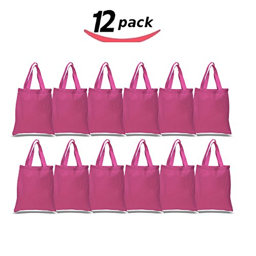 BagzDepot 12 Pack Durable Cotton Canvas Reusable Blank 15inch x 16inch Standard Size Grocery Plain Tote Bags with 21 inches Supportive Fabric Handles No Bottom Gusset - Hot Pink (Pink Bags 22')