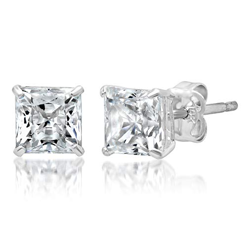 14k Solid White Gold PRINCESS Stud Earrings with Genuine Swarovski Zirconia | 1.5 CT.TW. | With Gift Box