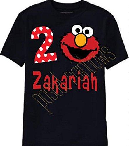 Personalized Black Elmo Birthday T-Shirt