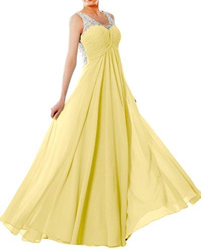 cb5ce7f92686 MACloth Women Straps V Neck Chiffon Lace Long Prom Dress Formal EveningBall  Gown (Custom Size, Canary)