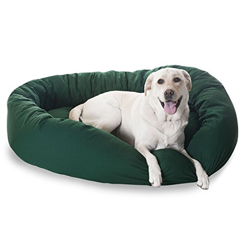 52 inch Green & Sherpa Bagel Dog Bed By Majestic Pet Products - Futon Dog Bed