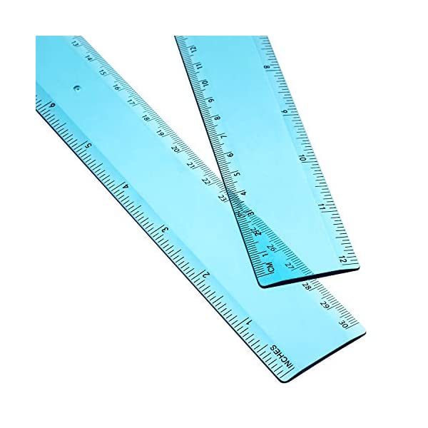 2-Pack-12-Inches-Blue-Plastic-Ruler-Straight-Ruler-Plastic-Measuring-Tool-for-Student-School-Office