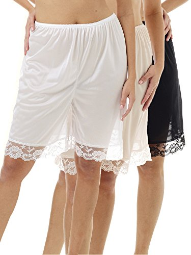 Underworks Pettipants Nylon Culotte Slip Bloomers Split Skirt 9-inch Inseam 3-Pack X-large-White-Beige-Black ()