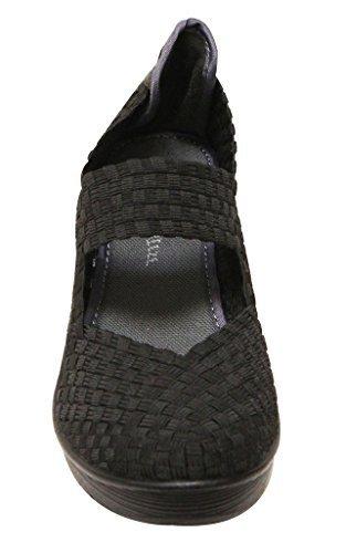 - Nature Breeze Mascara-03 Women's Round Toe Woven Braid Vamp Mary Jane Squeaky Platform Wedge Comfort Shoes,Black,9