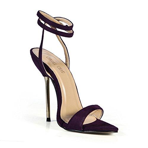 CHMILE CHAU-Sandales Femmes-Sexy-Stiletto-Plusieurs Coloris-Bride de Cheville-Talon Haut Métal-Aiguille-Bout Rond Violet-a B9HQfp