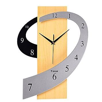 Lying Reloj de Pared Relojes Personalizados Reloj Creative Cuadros de Sala de Estar Moda Mudo Arte en Forma de 30x38cm Encontrar (Color : A): Amazon.es: ...