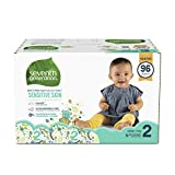 : Seventh Generation Baby Diapers for Sensitive Skin, Animal Prints, Size 2, 96 Count