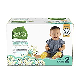 Seventh Generation Baby Diapers for Sensitive Skin, Animal Prints, Size 2, 96 Count
