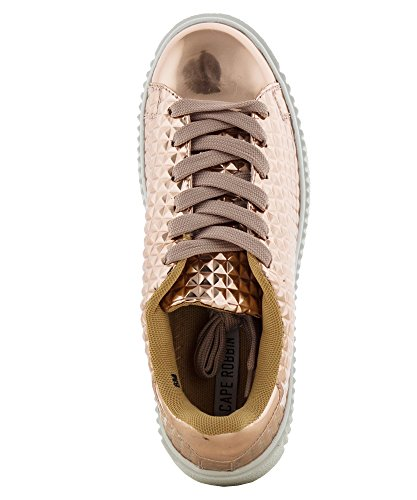 CAPE ROBBIN Womens Fashion Patent Metallic Leather Lace Up Platform Oxford Sneakers Shoes Rose Gold-quilted Pyramid d0qGsg