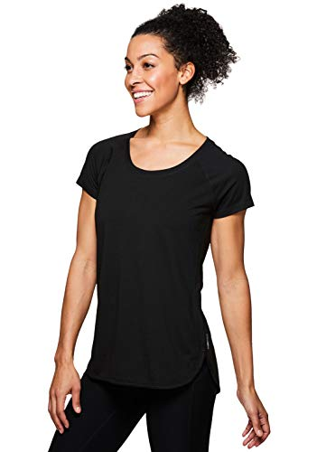 RBX Active Women's Back Detail Short Sleeve Workout T-Shirt S19 Black L (Short Sleeve Long Tee)