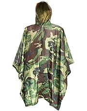 Luwint Multifunction Camo Rain Poncho - Waterproof Raincoat Hooded Lightweight Rainwear for Hiking Hunting Camping Fishing Military Outdoors