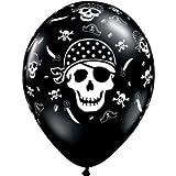 "11"" Pirate Skull & Cross Bones Around Balloons (10 per package)"