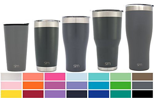 Simple Modern Pint 16oz Tumbler - Vacuum Insulated Travel Mug Beer Glass Splash Proof Cup - 16 oz Double Wall Grey 18/8 Stainless Steel - Slate 16 Ounce Travel Cup